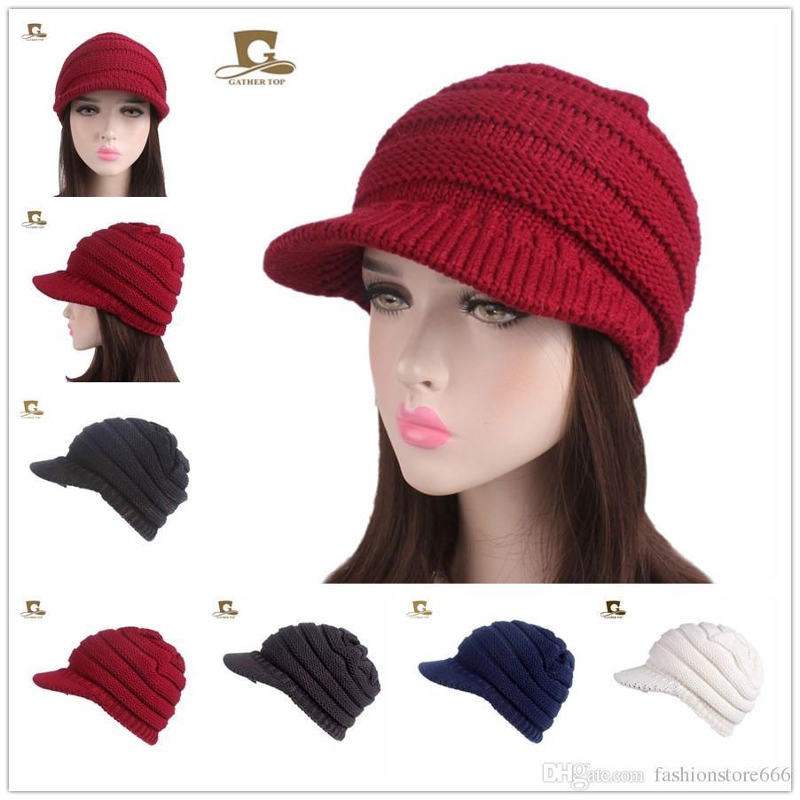 09aaebe3a67 2018 Autumn New Fashion Women Visor Knit Slouchy Beanie Hat Pleated ...