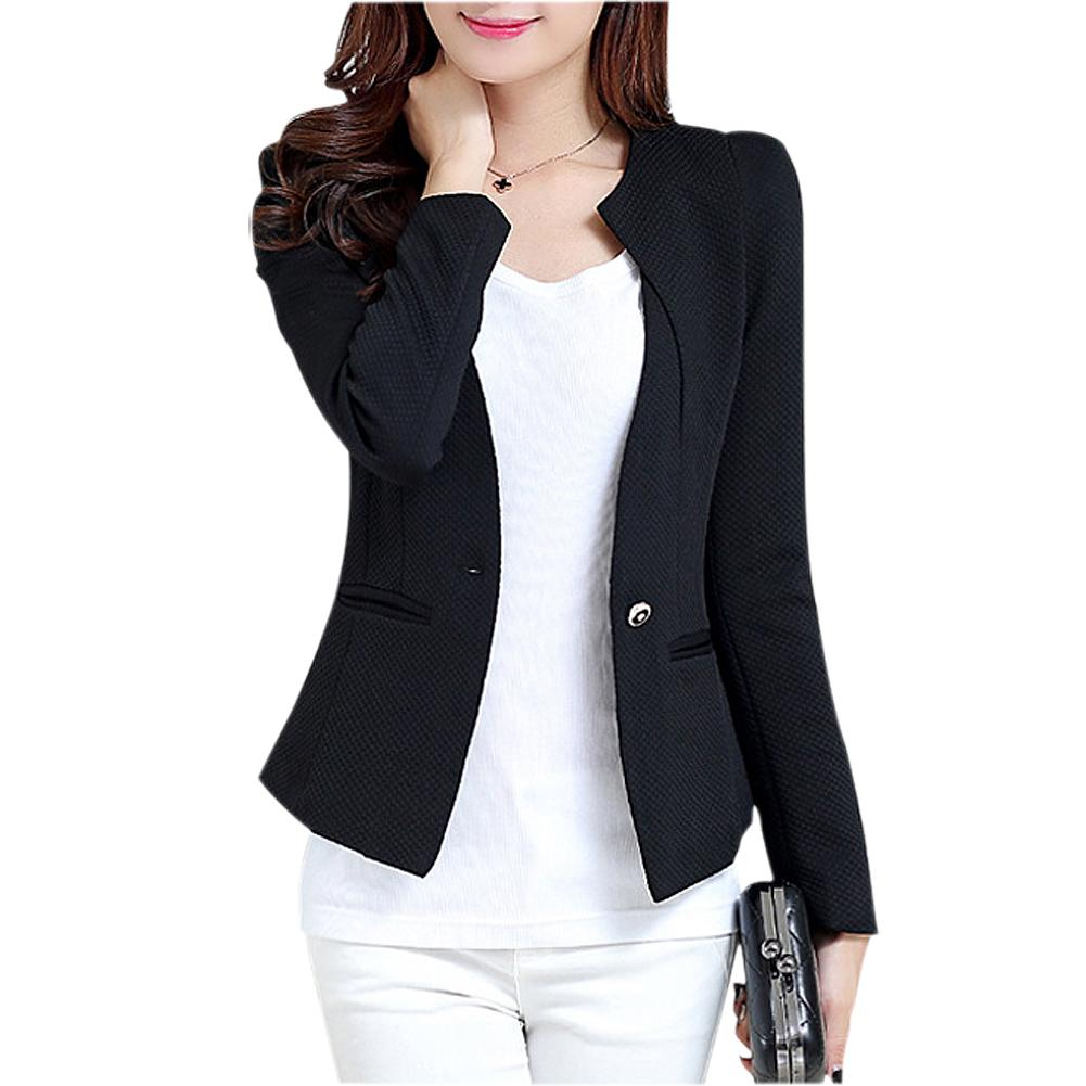 7f3430763ce2a Compre SYB 2016 Moda Primavera Mujer Slim Blazer Feminino Abrigo Chaqueta  Casual Manga Larga Un Botón Traje Negro Señoras Blazers Ropa De Trabajo A   24.78 ...