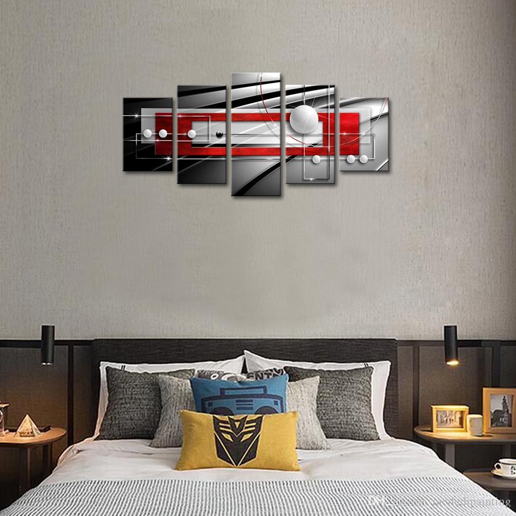 Huge Modern Symmetry Black and Red Canvas Print Wall Art Abstract Geometric Painting Decorations Picture Ready to Hang Home