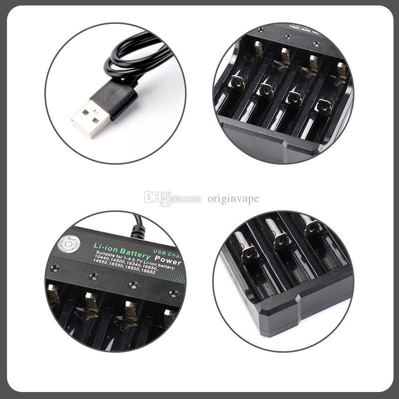 Carregador de Bateria De lítio Com Cabo USB 4 Carregamento Slots 18650 26650 18490 Carregador de Baterias Recarregáveis Melhor Nitecore EUA / REINO UNIDO / UE / AU Plug