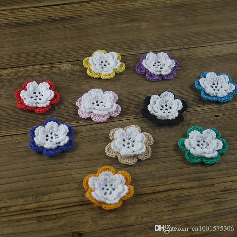 Crochet hecho a mano Diy colorido Crochet Applique 3D flor cálida Home Dress Dress Accessories Decoration.008.