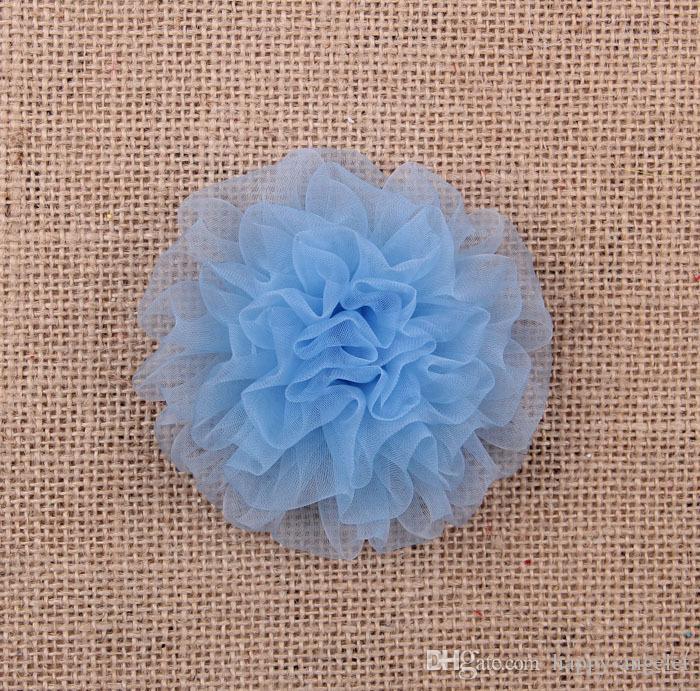 Hot venda de 3,5 polegadas flores de organza cravo sem flor clipe de decoração do partido para vestuário sapatos cabelo Acessórios HT2134