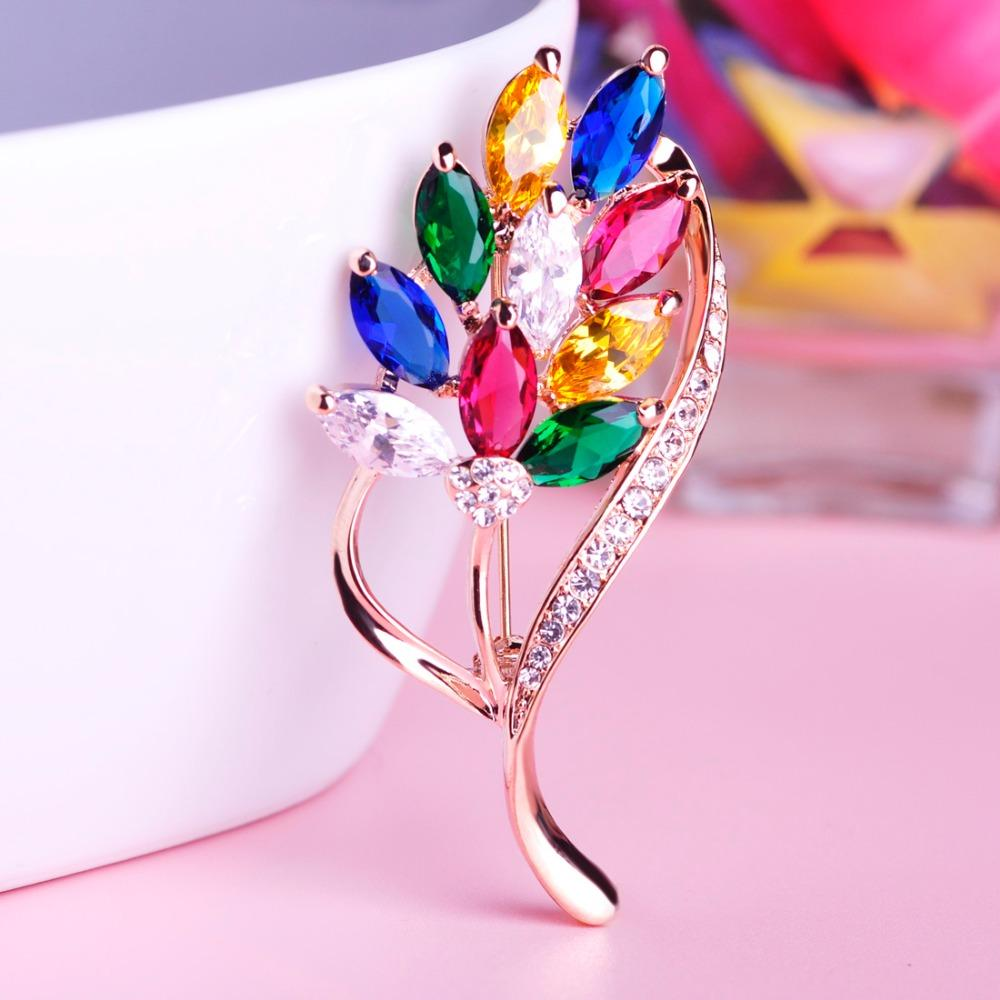 Blucome Clearance Elegant Leaf Shape Shiny Crystal Brooches Pins For ...