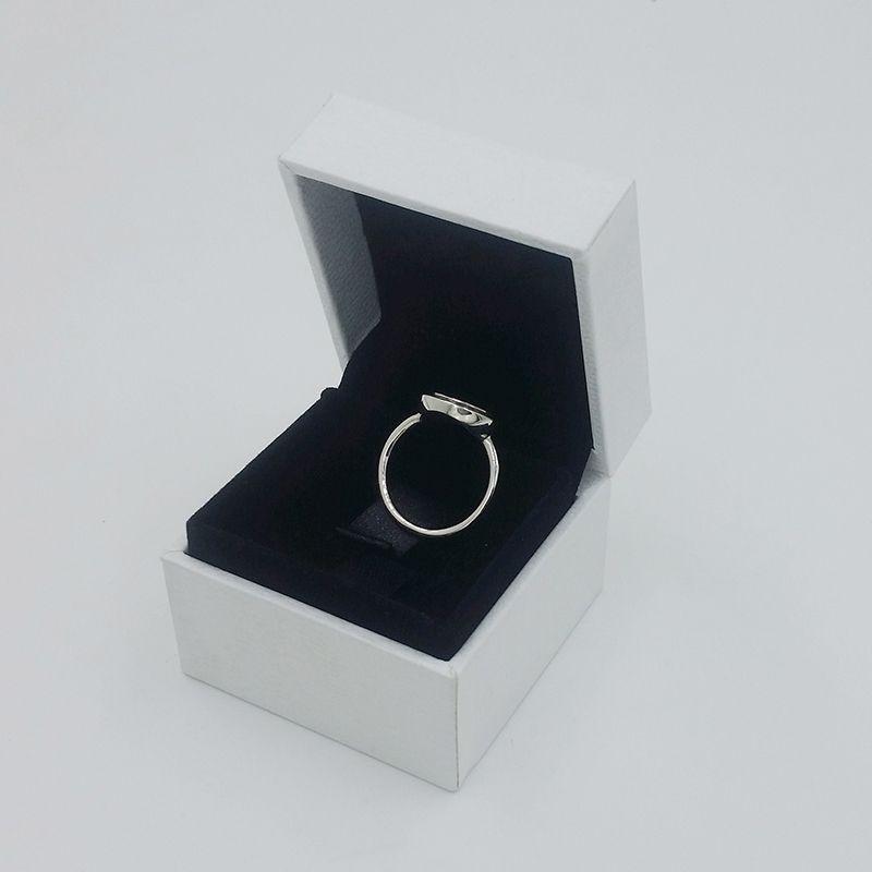 925 Ayar Gümüş CZ Elmas Disk Alyans Kadınlar Hediye Takı için Pandora İmza Açacağı Yüzük Orijinal Kutusu seti