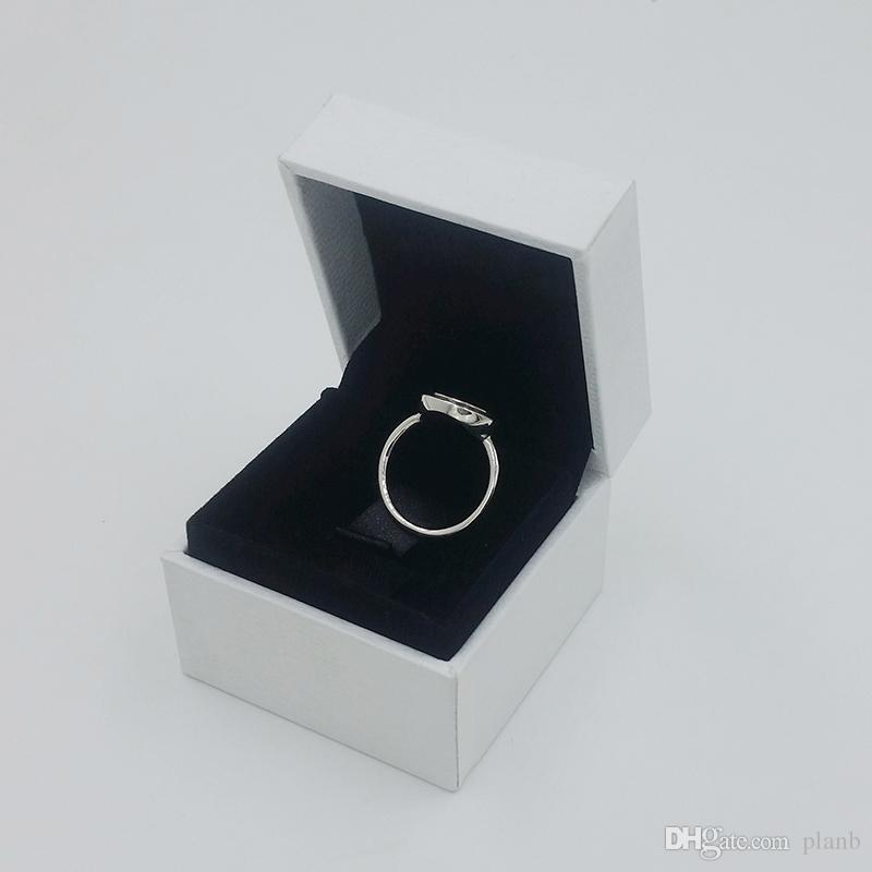 Plata esterlina 925 CZ Disco de diamante Anillo de bodas Joyería de regalo de las mujeres para Pandora Signature Pave Anillo caja original conjunto