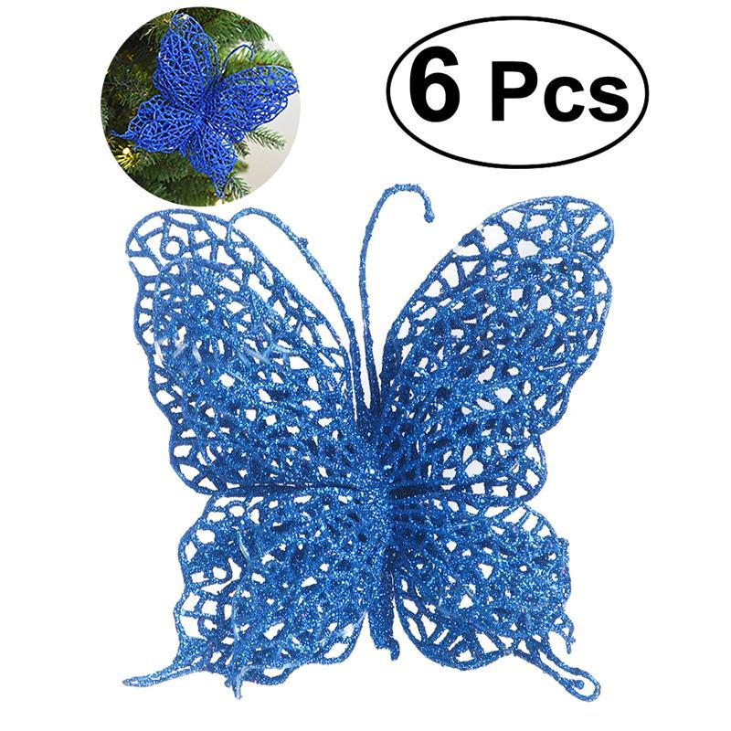 6 x christmas butterfly 38cm christmas decorations christmas tree ornaments wedding party decorations blue christmas decor on sale online christmas decor - Blue Christmas Tree Ornaments