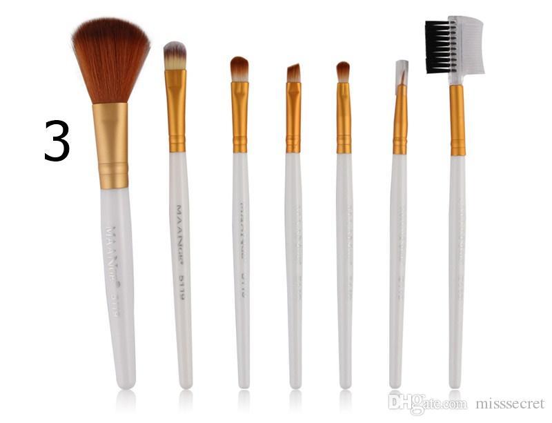 7 adet / takım Protable Makyaj Fırçalar Seti Profesyonel Vakfı Pudra Göz Farı Kaş Eyeliner Allık Makyaj fırça Seti 10 Renkler Makyaj Aracı