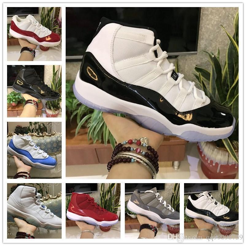 9211cfd342 Acquista Michael Jordan 11s Prom Night Scarpe Da Basket Nike Air Jordan 11  Uomo Donna Cap And Gown Gym Red Space Jam Concord PRM Heiress Allevato  Gamma Blu ...