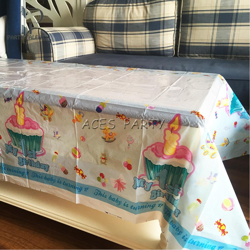 Party Supplies For Baby Boy Kids 1st Birthday Decoration Disposable Table Cloth Cover Linen Like Tablecloths 70 Round Tablecloth