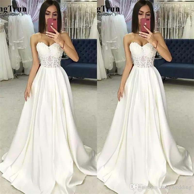 compre vestidos de novia elegantes satén a line lace appliqued