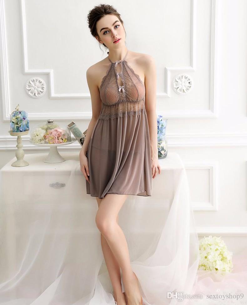 Elegant Sexy Mature Women Lingerie Underwear Sexy Transparent Dress Sleepwear Dresses -8337