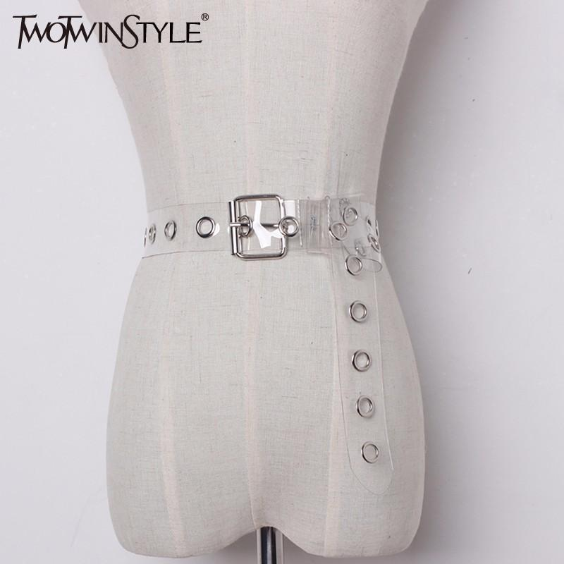 TWOTWINSTYLE All-match Women Transparent Pvc Leather Belt Especially Female  Belt Metallica Buckle Lady Strap Clothes Accessories S18101806