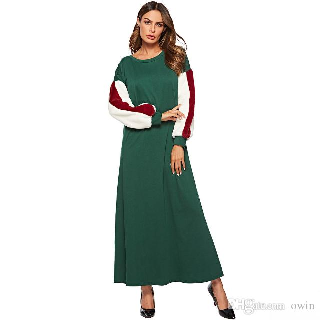 Women Velvet Long Sleeve O Neck Green Hoodie Dresses Ladies Muslim Fashion  Casual Party Malaysia Sweatshirts Maxi Dress Plus Size Going Out Dresses  Summer ... ee10f05c9074