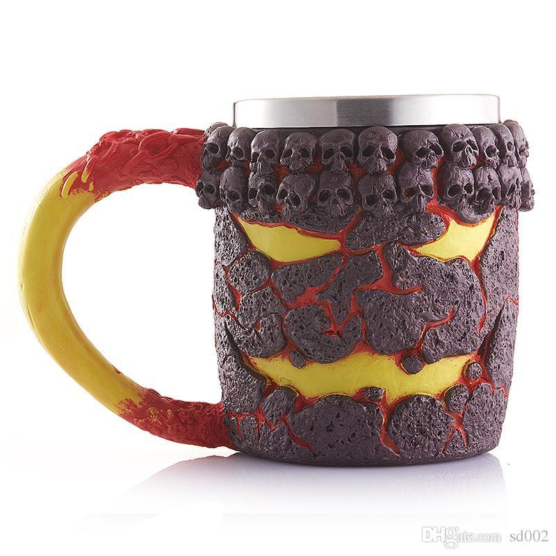 Retro Magma Monster Cup Heat Resisting Resin Stainless Steel Skull Mug Milk Coffee Cups Drinkware Halloween Gifts 23kba C R