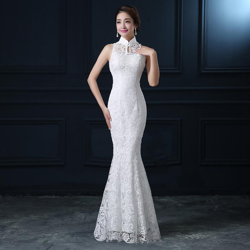 a5bffa00a67d7 2019 Qipao White Lace Cheongsam Modern Chinese Traditional Wedding Dress  Women Oriental Collars Sexy Long Qi Pao Evening Mermaid Gown From Honry, ...