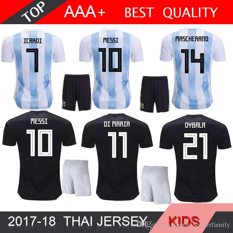 013f19c2f 2019 MESSI 2018 World Cup Argentina Soccer Jersey Kids Kit 2018 Argentina  Home White Soccer Jerseys Child Soccer Shirts Uniform Jerseyshorts From ...