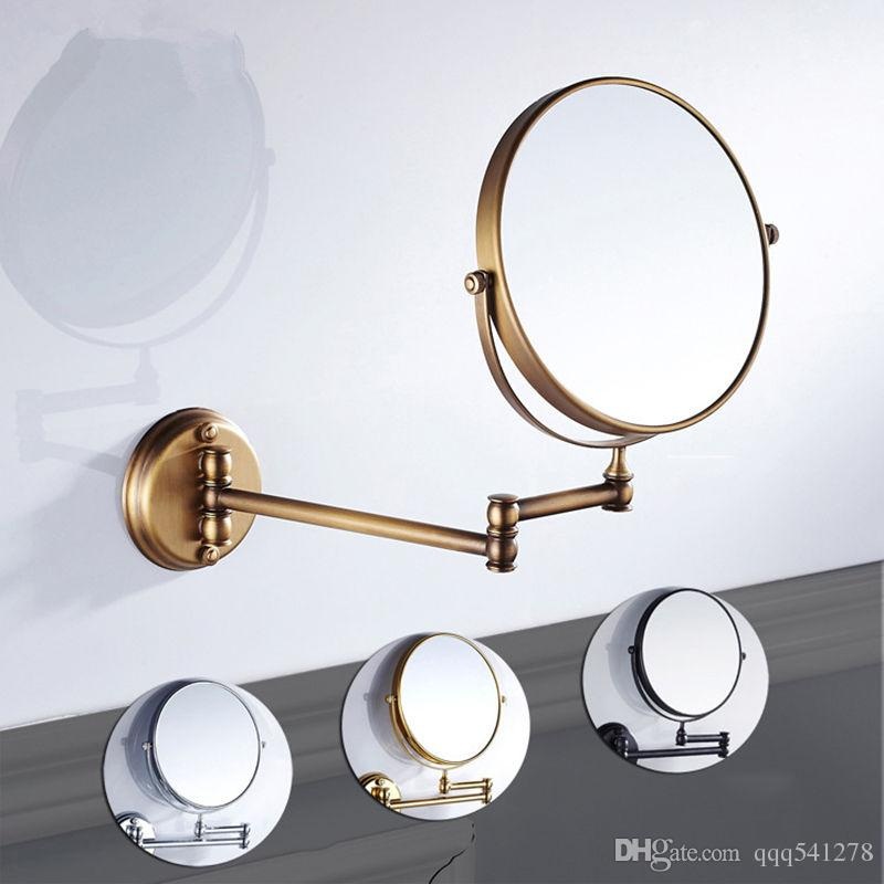 8 Inch Bathroom Mirror Dual Arm Extend 2 Face Round Copper Framed Make Up Chrome Wall Mounted 1x3x3 Magnifying Large For On
