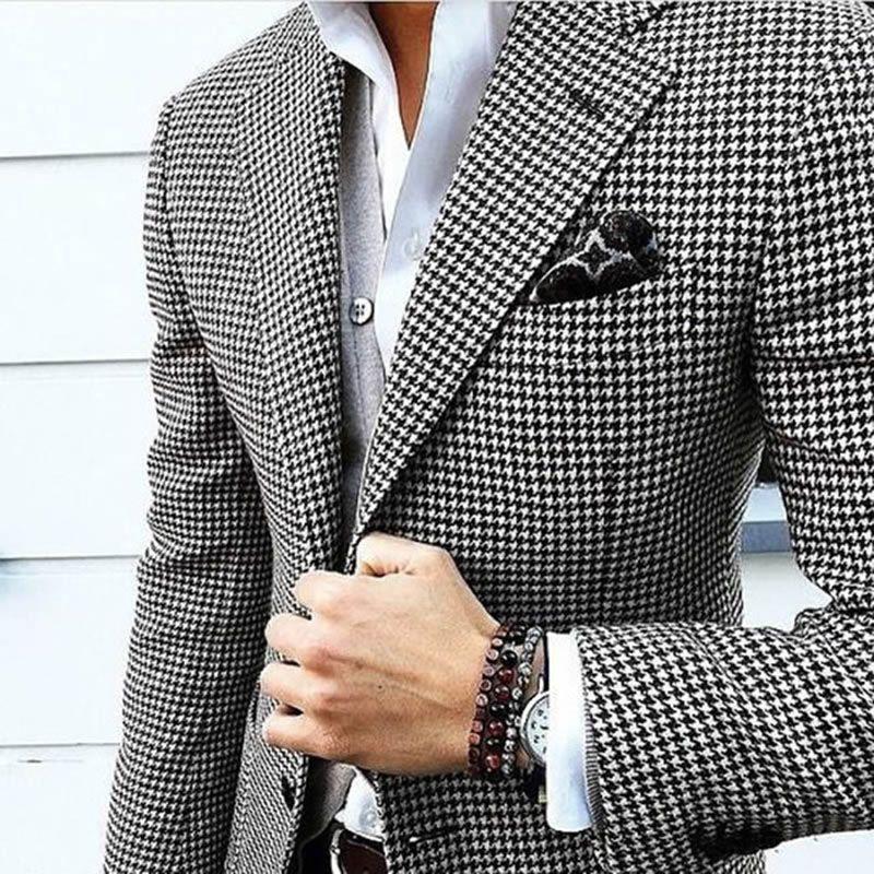 Compre Houndstooth Por Encargo Para Hombre A Cuadros Traje Vestido 2017  Tailored Negro Tejido Hounds Diente Compruebe Boda Hombres Trajes Chaqueta  + ... 8fcc626b1b1