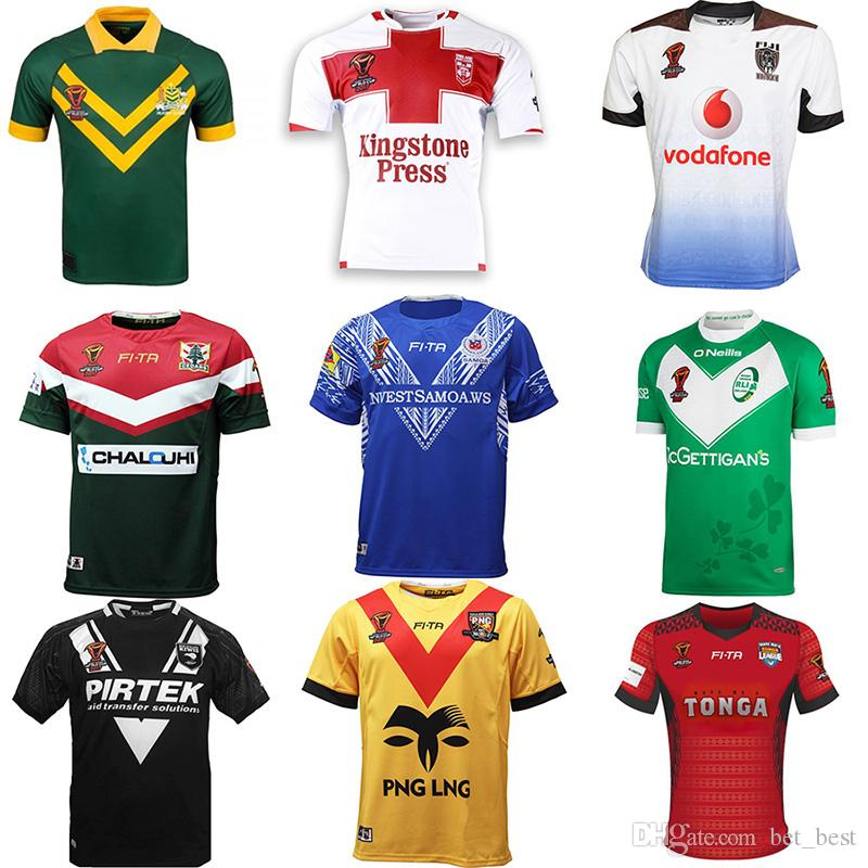 d978afd7d7b Acquista RLWC2017 Mens TONGA Rugby League World Cup Jersey 2017 AUSTRALIA  Inghilterra Fiji Irlanda Libano Papua Samoa Nuova Zelanda Kiwis Rugby Jersey  A ...