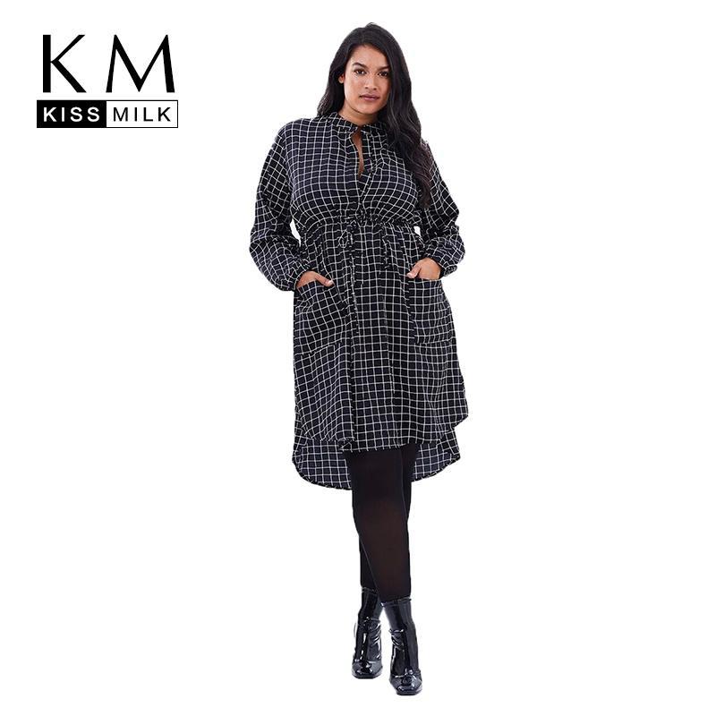 6bed5bc6d99 Kissmilk Plus Size Plaid Button Emboridery High Low Cut Out Long Sleeve  Waist Tie Two Pocket Women Autumn Casual Dress D1891701 T Shirt Dresses  Cheap Black ...