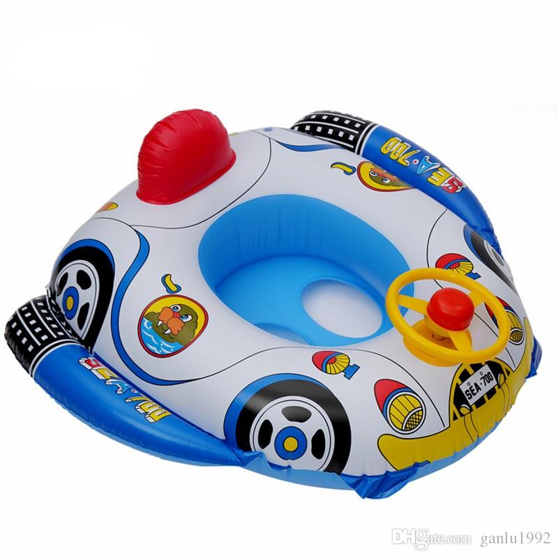 Children Cartoon PVC Environmental Protection Inflation Safety Swimming Ring Baby Thickening Funny Trumpet Boat With Steering Wheel 8lx W