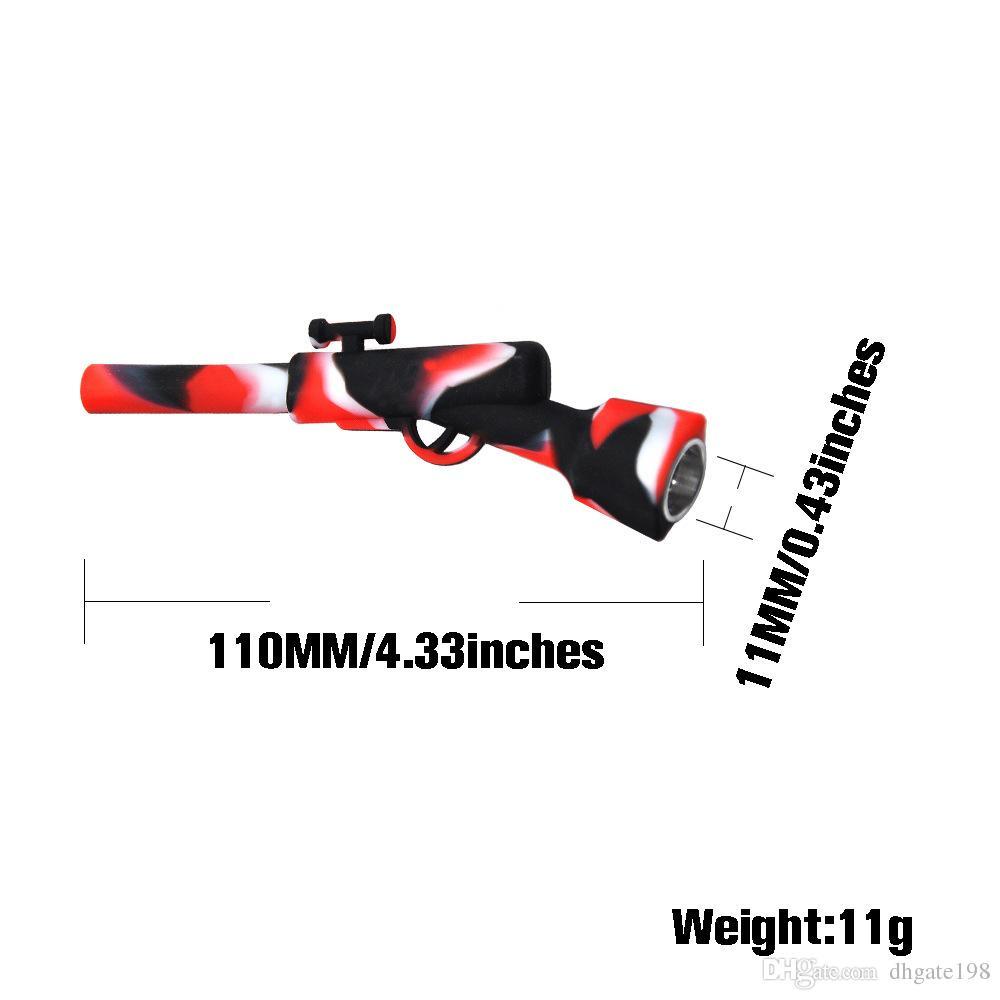 Nova Mini Gun Forma Tubo De Fumo Indestrutível Portátil Silicone Com Tubos de tela para venda Narguile Hookah Acessório Tubo de Tabaco