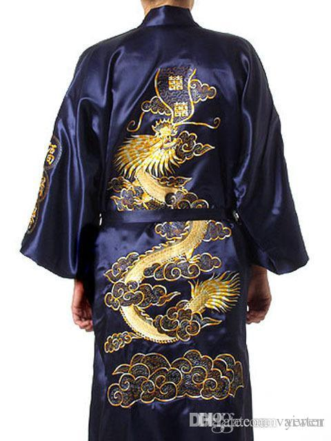 a29af7375ae 2019 Plus Size Chinese Men Embroidery Dragon Robes Traditional Male  Sleepwear Nightwear Kimono With Bandage Wholesale S0014 From Vaiwen