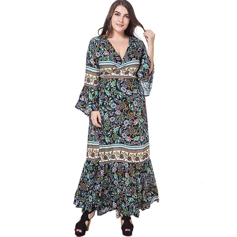 25ffedadb60 Mermaid Plus Size Dress Women 2018 Spring Summer Casual Long Dress Floral  Long Flare Sleeve V Neck Hot Sale 3XL 4XL Maxi Dress Satin Dresses Dresses  For ...