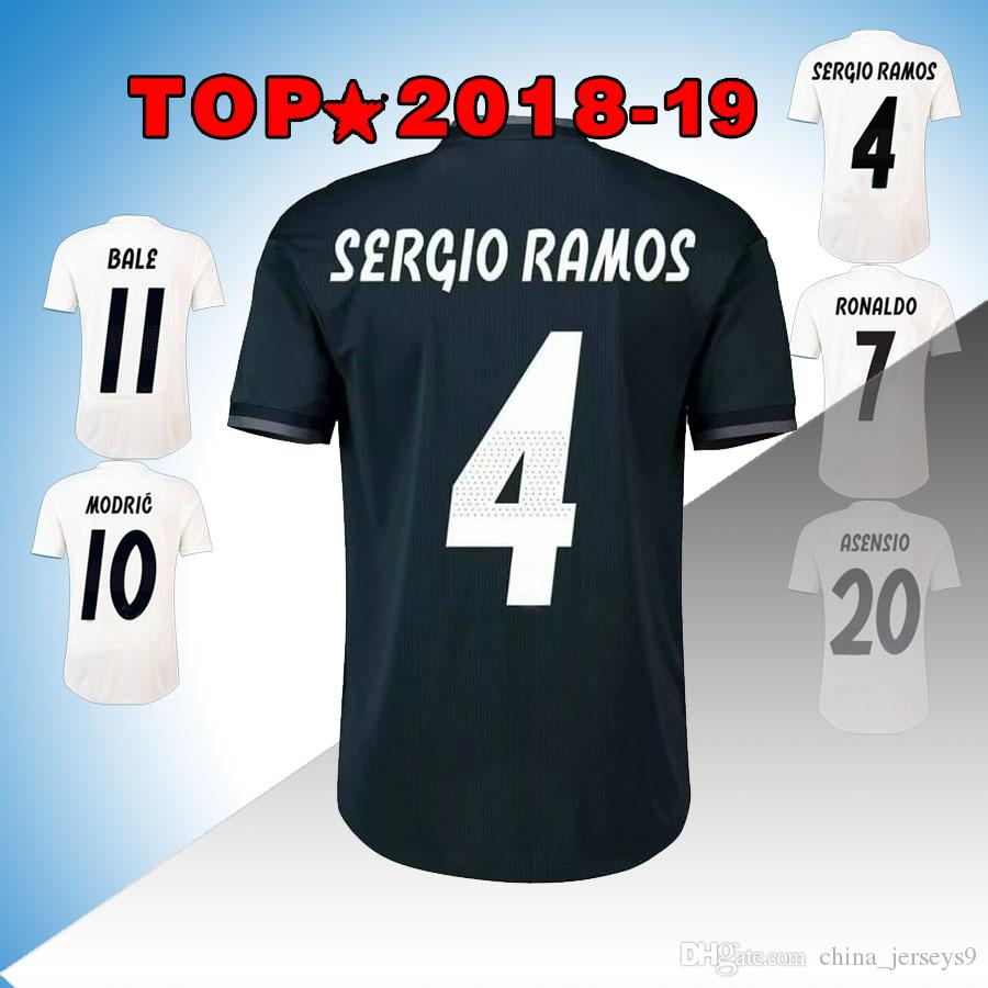 83cfe8453 New Real Madrid Home White Soccer Jersey 18 19 Real Madrid Away Blue ...