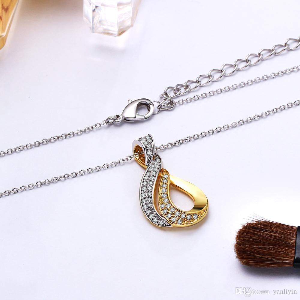 Elegant OL design crystal small pendant charm necklace statement jewelry 2 tone Gold color suspension chain pendants