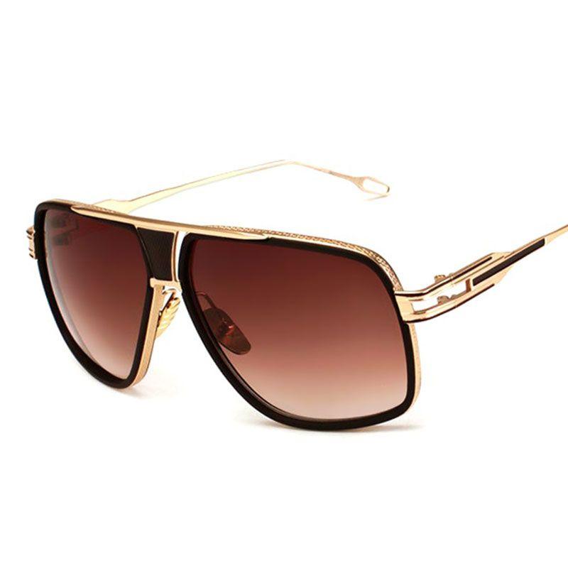 01455b14ac Oversized Men Sunglasses Brand Designer Women Flat Top Sun Glasses ...