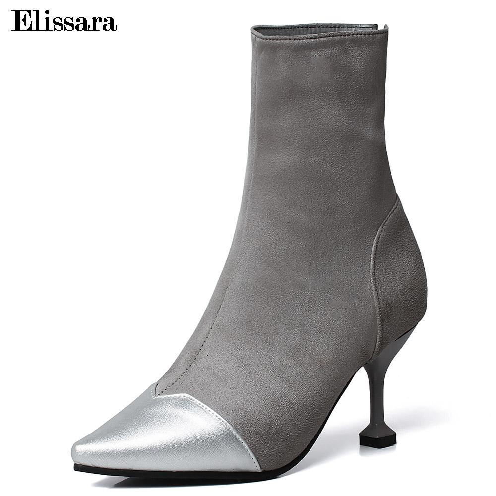 1ed180c4673 Women Zip High Heels Ankle Boots Shoes For Woman Classics Faux Suede  Pointed Toe Party Ankle Boots Shoes Size 32 47 Elissara Black Boots Boots  Pharmacy From ...