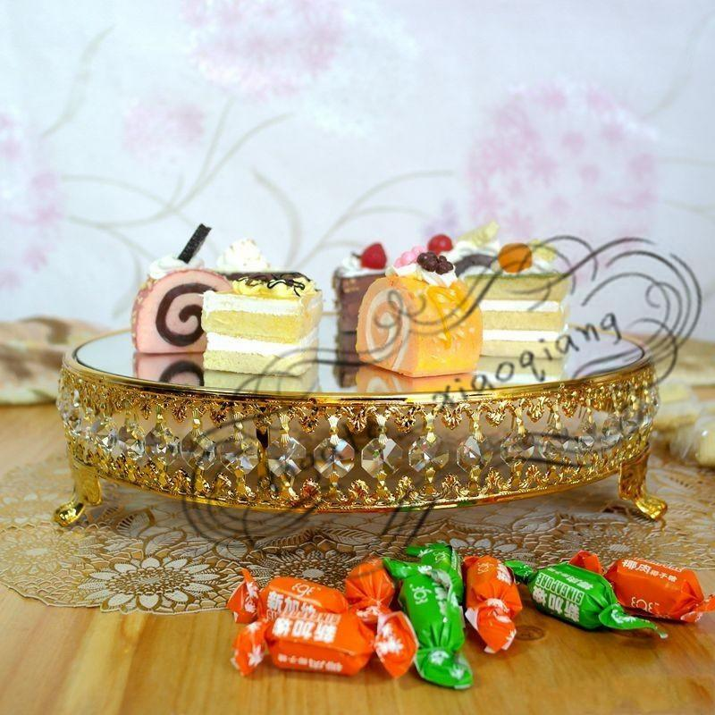 Gold plated new style crystal chain mirror cake stand/fruit plate,Wedding supplies,home Decoration