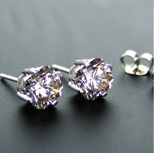 Бесплатная доставка идеальный Cut 2 ct/пара синтетического углерода Алмаз стерлингового серебра белого золота покрытием свадьба серьги стержня невеста не любящая не исчезают