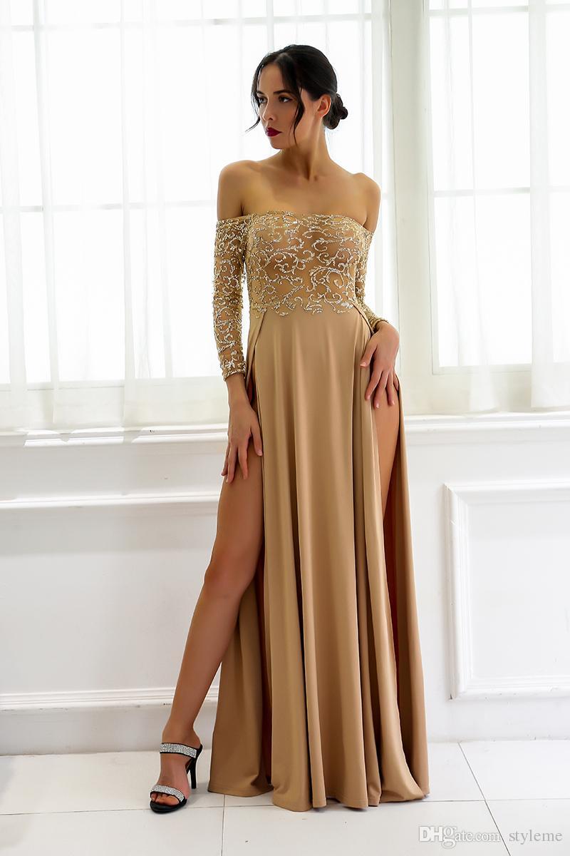 b99c8ea31ed0 Großhandel Designer Frauen Gold N Maxi Kleider 2018 Sommer Schulterfrei  Stickerei Party Roben Abend Geburtstag Kleider Vestidos De Fiesta Von  Styleme, ...