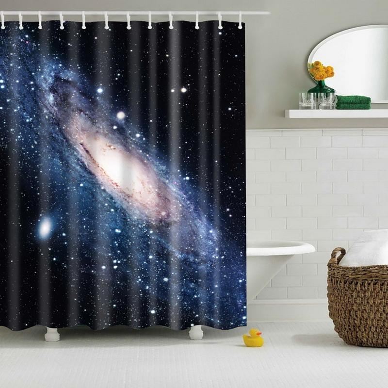 2018 High Quality Cool Shining Stars Space Universe Customize Design Bath Waterproof Shower Curtain Bathroom Curtains Hot From Lienal 2195