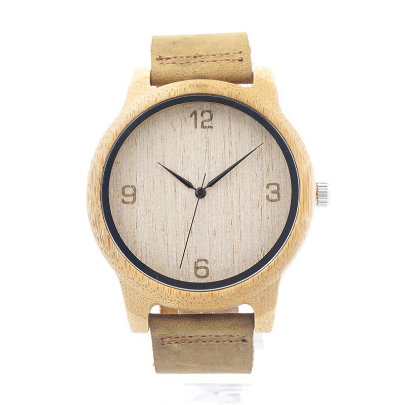 3a4335e6d81 Compre Relógios Casal BOBO PÁSSARO L09 De Bambu De Madeira Homens Relógio  De Pulso Com Pulseira De Couro De Couro Marrom Japonês Quartz Movement  Casual ...