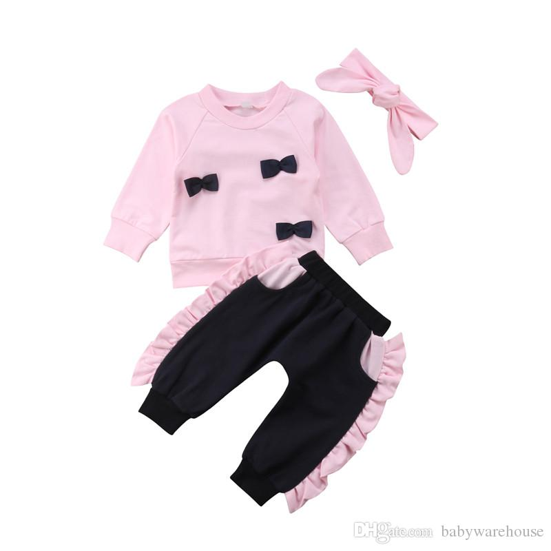 aa293e8d4f94 2019 Cute Baby Girl Clothes Toddler Girls Clothing Sets Cotton Bows Ruffles Long  Sleeve T Shirt Tops Pants Headband Kids Children Outfits From Babywarehouse  ...