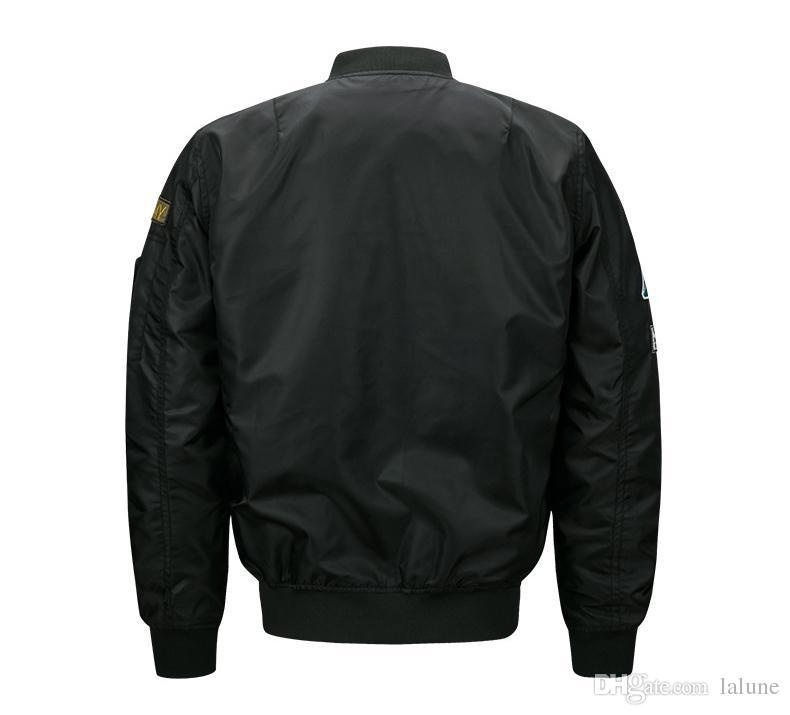 Siyah Bombacı Ceket Uçuş Pilot Ceketler Erkek Casual Uçan Coats Uzun Kollu Slim Fit Giysileri Askeri Hava Kuvvetleri Nakış Artı Boyutu M-6XL