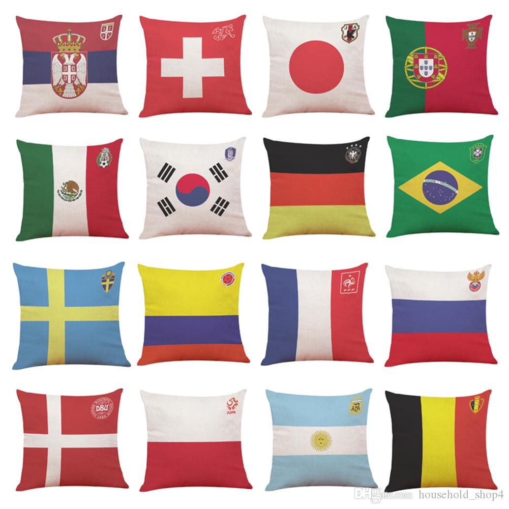 Hot New Pillow Case 45*45cm Home Decor Cushion Cover Carnival 2018 Football  World Cup Pillow Covers Outdoor Patio Cushion Large Patio Cushions From ...