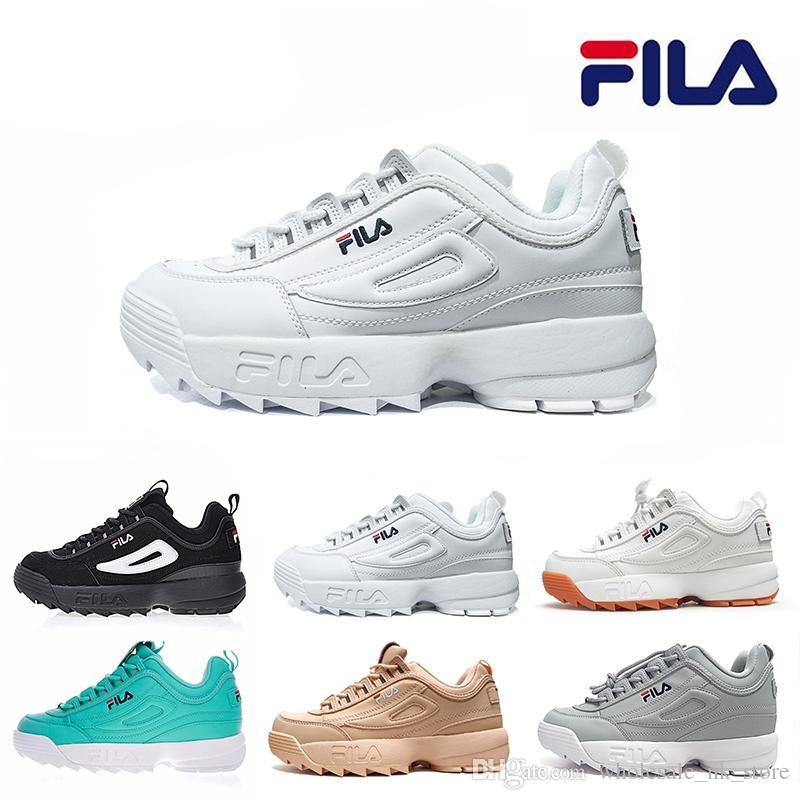 Acheter FILA 2019 Nouveau Original FILAS Disruptors 2 Dents De Scie Blanc  Noir II Femmes Hommes Chaussures De Sport Plateforme Designer Chaussures De  Course