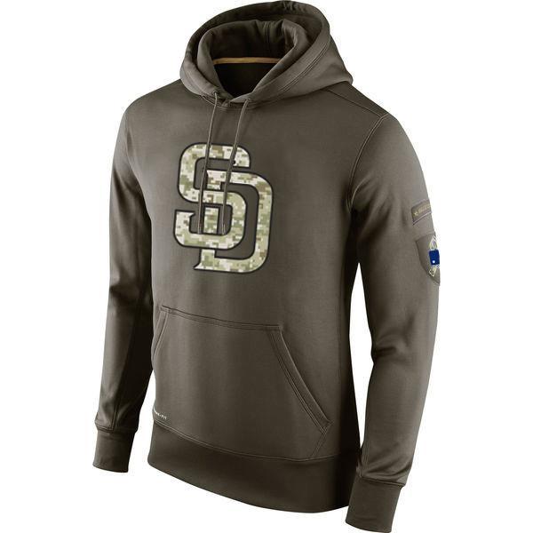 buy popular 9ae99 9f820 San Diego Sweatshirt Padres Olive Salute To Service KO Performance Baseball  Hoodie men women
