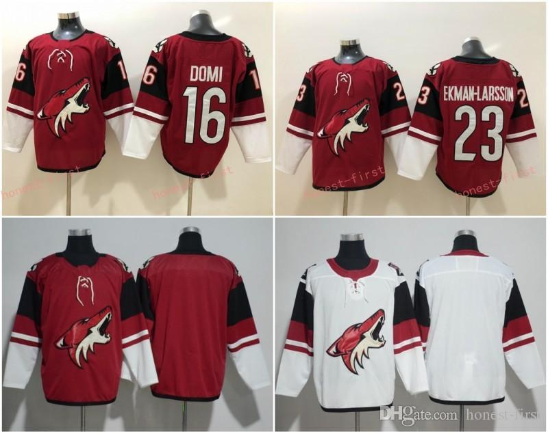 best sneakers 7e13f b67c3 2018 New Arizona Coyotes Jersey 23 Oliver Ekman Larsson 16 Max Domi Jersey  Red White Authentic Stitched Hockey Jerseys Mix Order