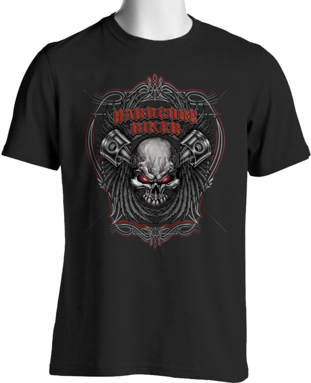 cac72415c90 Hardcore Biker T-Shirt Skull Wings Pin StripesSize S To 3XL Big And ...