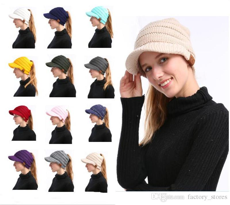 030d370ef9e 2018 Solid Color Ponytail CC Beanies Women Hats Girls Winter Knitted ...