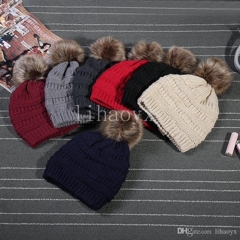 Kids Adults Thick Warm Winter Hat For Women Soft Stretch Cable Knitted Pom Poms Beanies Hats Women's Skullies Beanies Girl Ski Cap