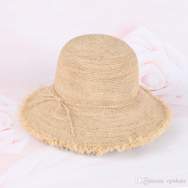 72f3e262d5b6f Raffia Straw Hat 2018 New Hand Crochet Raffia Wide Brim Natural ...