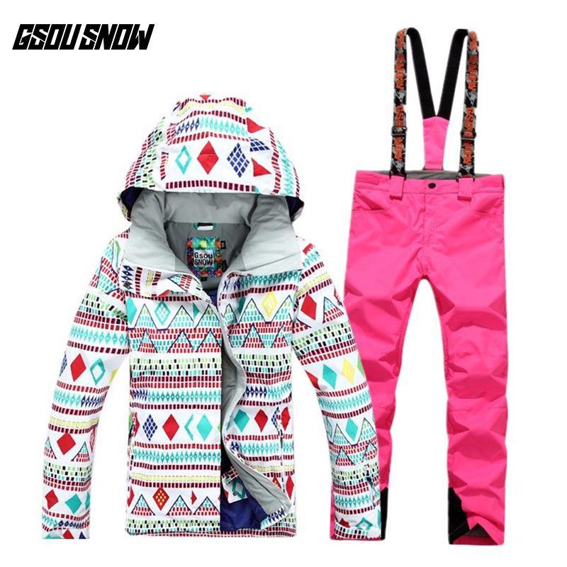 GSOU SNOW Ski Suit Women S Suit Windproof Waterproof Warm Breathable Ultra  Light Winter Ski Jacket Pants For Women Size S L UK 2019 From Cbaoyu d311054b1
