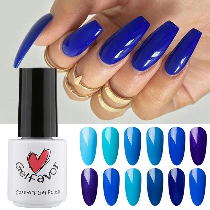 Gelfavor Brand Blue Style LED Nail Art Polish Waterproof High ...