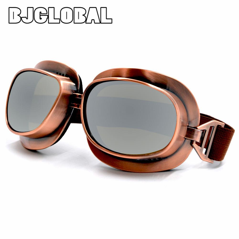 9b37634cc22 BJGLOBAL Retro Vintage Leather Motorcycle Goggles Motorbike Flying Scooter  Aviator Helmet Glasses Outdoor Sports Eyewear Clear Motorcycle Goggles  Clear ...